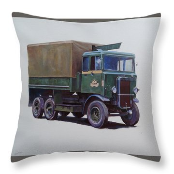 Throw Pillow featuring the painting Pre-war Leyland Wrecker. by Mike Jeffries