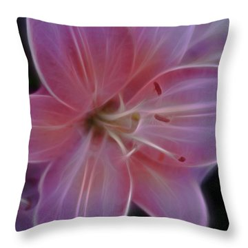 Precious Pink Lily Throw Pillow by Joann Copeland-Paul