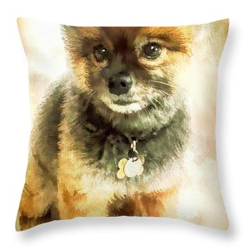 Precious Pomeranian Throw Pillow by Tina LeCour