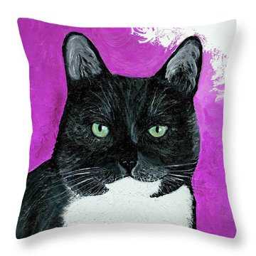 Throw Pillow featuring the painting Precious The Kitty by Ania M Milo