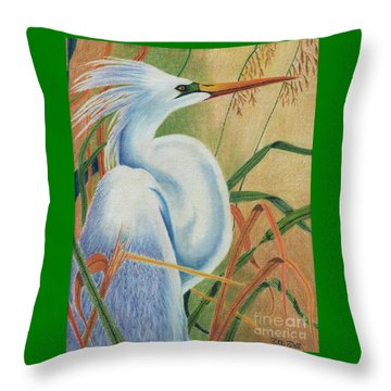 Throw Pillow featuring the drawing Preening Egret by Peter Piatt