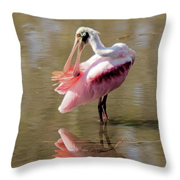 Preening Spoonbill Throw Pillow