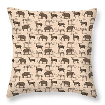 Prehistoric Animals Throw Pillow by Antique Images