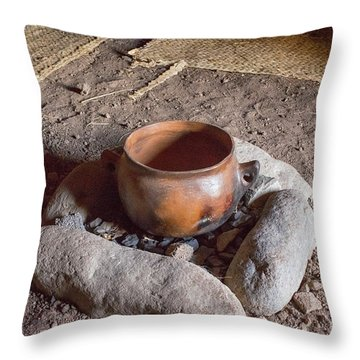 Throw Pillow featuring the photograph Prehistoric Cooking  by Patricia Hofmeester