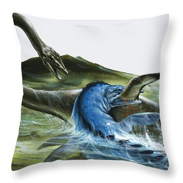 Prehistoric Creatures Throw Pillow by David Nockels