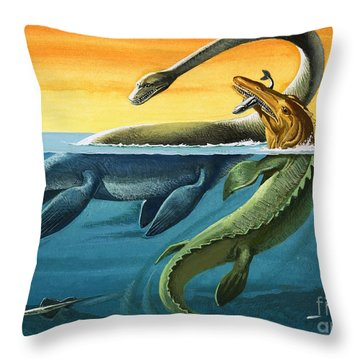 Prehistoric Creatures In The Ocean Throw Pillow by English School