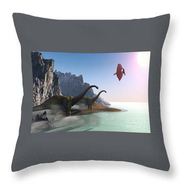 Prehistoric World Throw Pillow by Corey Ford