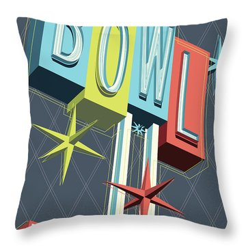 Premiere Lanes Bowling Pop Art Throw Pillow