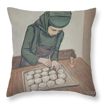 Throw Pillow featuring the painting Preparing Communion Bread by Olimpia - Hinamatsuri Barbu