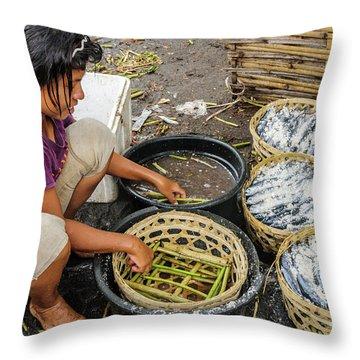 Preparing Pindang Tongkol Throw Pillow by Werner Padarin