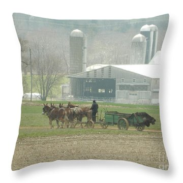 Preparing The Field-two Throw Pillow