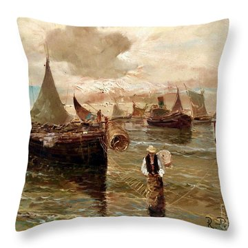 Throw Pillow featuring the painting Preparing The Trap by Rosario Piazza