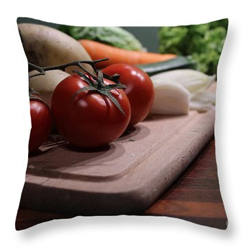 Preparing Vegetables For Cooking Food Throw Pillow