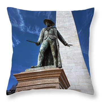 Prescott Statue On Bunker Hill Throw Pillow