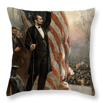Throw Pillow featuring the photograph President Abraham Lincoln - American Flag by International  Images
