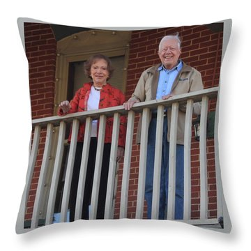 President And Mrs Carter On Plains Inn Balcony Throw Pillow