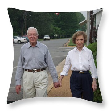 President And Mrs. Jimmy Carter Throw Pillow by Jerry Battle