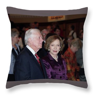 President And Mrs. Jimmy Carter Nobel Celebration Throw Pillow by Jerry Battle