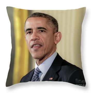 President Barack Obama Throw Pillow by Ava Reaves