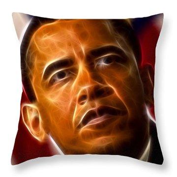 President Barack Obama Throw Pillow by Pamela Johnson