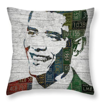 President Barack Obama Portrait United States License Plates Edition Two Throw Pillow by Design Turnpike