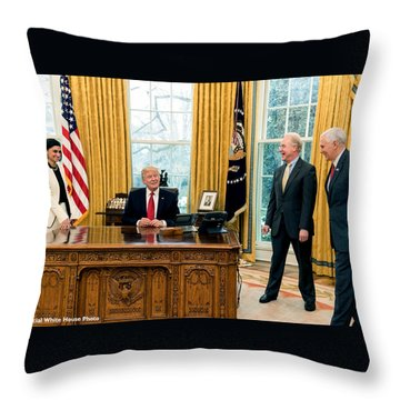 President Donald Trump Throw Pillow by Charles Shoup