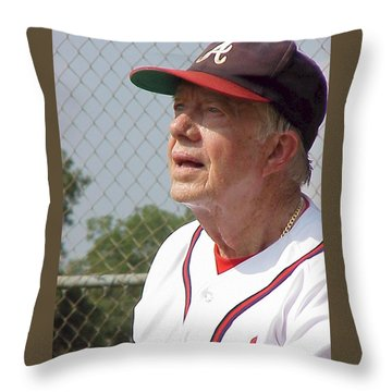 President Jimmy Carter - Atlanta Braves Jersey And Cap Throw Pillow