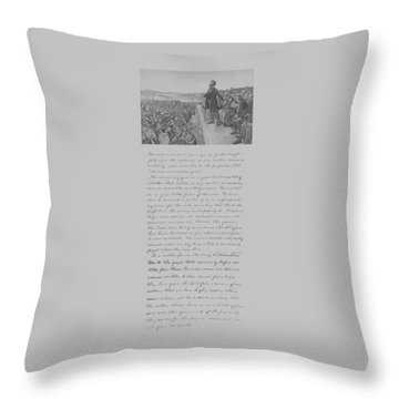 President Lincoln And The Gettysburg Address Throw Pillow