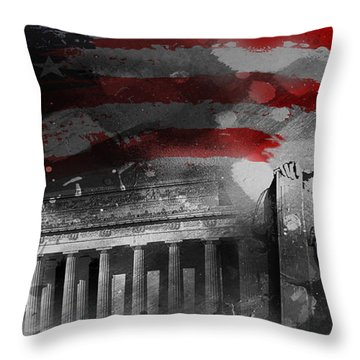Throw Pillow featuring the painting President Lincoln  by Gull G