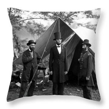 Throw Pillow featuring the photograph President Lincoln Meets With Generals After Victory At Antietam by International  Images