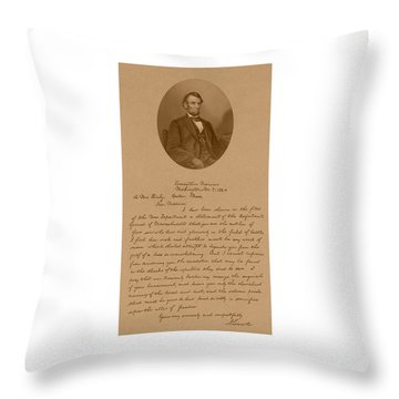 President Lincoln's Letter To Mrs. Bixby Throw Pillow by War Is Hell Store