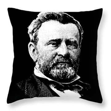 President Ulysses Grant Graphic - Black And White Throw Pillow