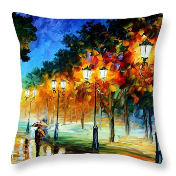 Prespective Of The Night Throw Pillow by Leonid Afremov