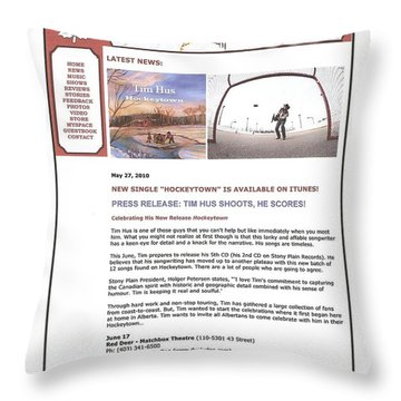 Press Release Carole Spandau Paints Cover Art For Hockeytown Cd By Tim Hus Throw Pillow by Carole Spandau