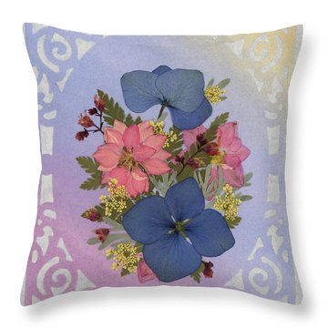 Pressed Flowers Arrangement With Pink Larkspur And Hydrangea Throw Pillow