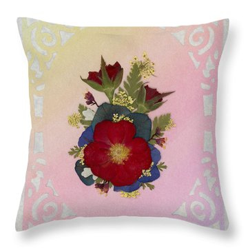 Pressed Flowers Arrangement With Red Roses Throw Pillow