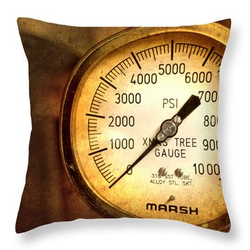 Throw Pillow featuring the photograph Pressure Gauge by Charuhas Images