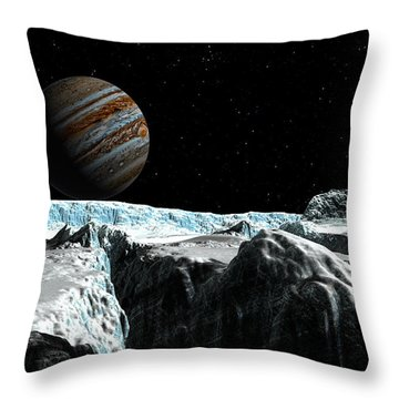 Throw Pillow featuring the digital art Pressure Ridge On Europa by David Robinson