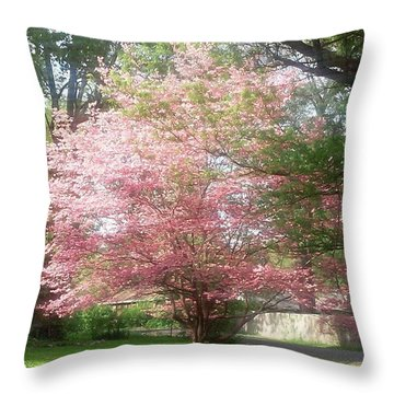 Pretty! ❤ #pink #tree #nature Throw Pillow