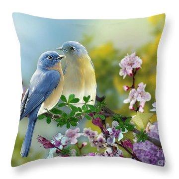 Pretty Blue Birds Throw Pillow