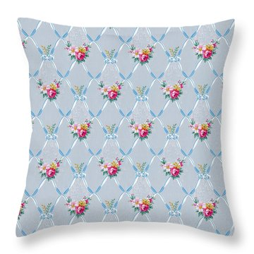Pretty Blue Ribbons Rose Floral Vintage Wallpaper Throw Pillow