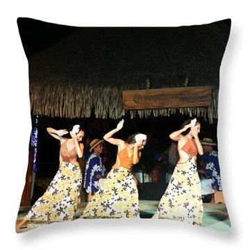 Pretty Dancers In Tahiti Throw Pillow