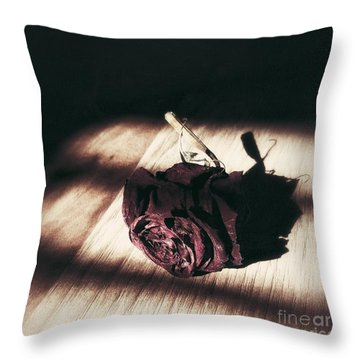 Pretty Dead Rose Resting In The Warm Sun Throw Pillow