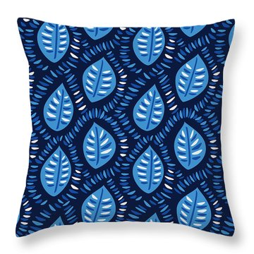 Pretty Decorative Blue Leaves Pattern Throw Pillow