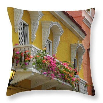 Pretty Dwellings In Old-town Cartagena Throw Pillow