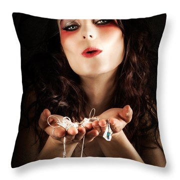 Pretty Elegant Lady Holding Jewelry Necklaces Throw Pillow