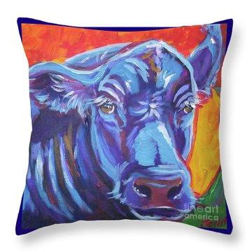 Pretty Face Cow Throw Pillow by Jenn Cunningham