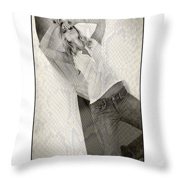 Pretty Girl On Her Knees Throw Pillow by Michael Edwards