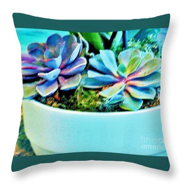 Pretty Hens And Chicks Throw Pillow by Marsha Heiken