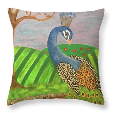 Pretty In Peacock Throw Pillow
